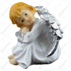Figurina inger cu aripi argintii din rasina 7 CM