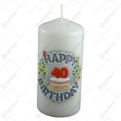 Lumanare in forma cilindrica - Design Happy Birthday - Diverse modele