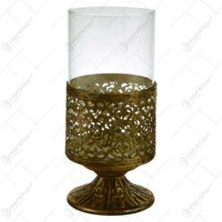 Candela realizata din metal si sticla in forma de pahar cu talpa - Design Vintage (Model 1)