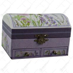 Cutie pentru bijuterii realizata din carton cu sertar - Lavanda