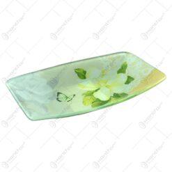 Platou pentru servire realizat din sticla - Design Flowers - Dreptunghiular (Tip 4)
