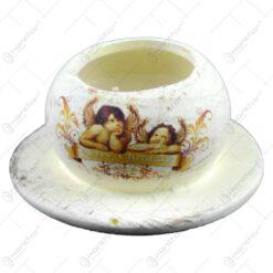 Candela pentru lumanare realizata din ceramica - Design Ingeri - 2 modele