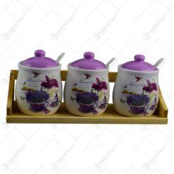Set 3 recipiente realizate din ceramica pentru condimente cu capac si lingurita - Design Lavanda Jardin