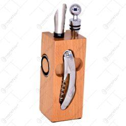 Suport acesorii pentru vin din lemn - 5 accesorii - Brun