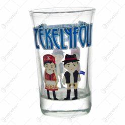 Pahar tip shot realizat din sticla - Design traditional Szekelyfold