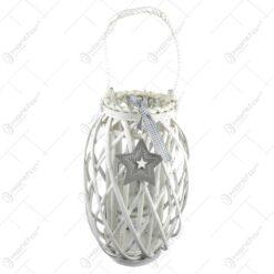 Felinar realizat din ratan cu candela - Design cu steluta 36 cm