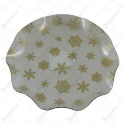 Tava rotunda transparenta realizata din material plastic - Design Fulgi de nea aurii (Model 2)