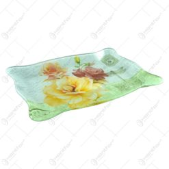 Platou pentru servire realizat din sticla - Design Trandafiri - Dreptunghiular (Tip 1)