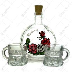 Set plosca si 2 pahare realizate din sticla si pictate manual - Romania - Diferite modele