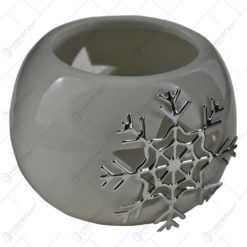 Candela rotunda realizata din ceramica - Design fulg de nea (Diverse culori)
