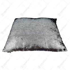 Perna decorativa din paiete reversibile - Auriu-Negru / Argintiu-Negru