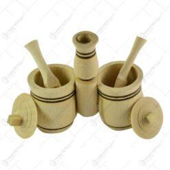 Set solnita realizat din lemn. cu capac si lingurita dozatoare - Design Rustic