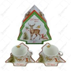 Set cana de craciun cu farfurii in forma de brad realizata din ceramica - Design Christmas deer