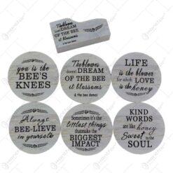 Set 6 suporturi cu carcasa pentru pahare - Design cu mesaj
