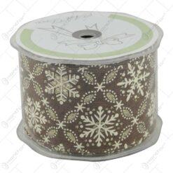 Panglica realizata din material textil tip panza de iuta (38mm x 10m) - Design Craciun (Model 4)