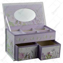 Cutie pentru bijuterii realizata din carton cu sertar si oglinda - Lavanda