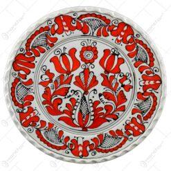 Farfurie pentru decor din ceramica si pictat cu motive populare  - Mare