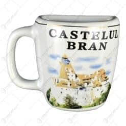 Magnet de frigider cu forma cana realizata din ceramica - Design Castelul Bran