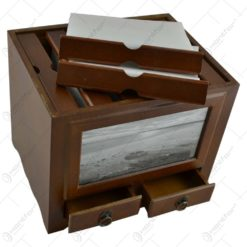 Album pentru fotografii realizat din lemn cu doua sertare - Design Elegant (Tip 1)