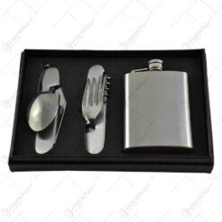 Set cadou in cutie decorativa - Plosca si 2 briceaguri multifunctionale realizate din inox
