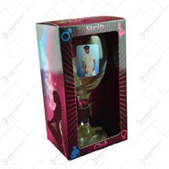 Pahar de vin cu imagine de barbat termic in cutie decorativa - Strip Club - se vinde 6 buc/bax