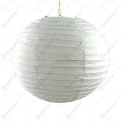 Lampion realizat din hartie in forma de glob - Alb (40cm)