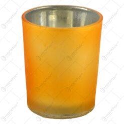 Candela rotunda realizata din sticla - Galben