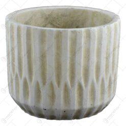 Ghiveci realizat din piatra - Design antic - Alb-Crem