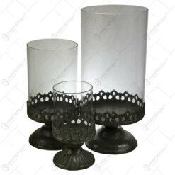 Set 3 candele realizate din metal si sticla - Design vintage