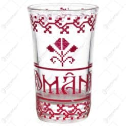 Pahar tip shot realizat din sticla - Design traditional Romania (Model 2)
