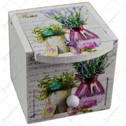Cutie pentru bijuterii in forma de dulapior - Design vintage cu lavanda (Model 1)