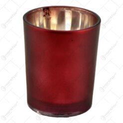 Candela rotunda realizata din sticla - Rosu