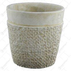 Ghiveci realizat din piatra - Design cu efect de panza de iuta - Crem