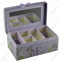 Cutie pentru bijuterii realizata din carton cu oglinda - Lavanda (Model 1)