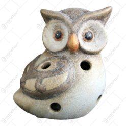Candela realizata din ceramica in forma de bufnita ( 12cm )