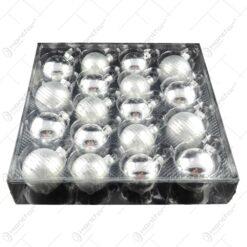 Set 18 globuri realizate din sticla pentru brad de craciun - 2 modele (Argintiu)