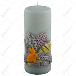 "Lumanare de Paste in forma cilindrica decorata cu iepuras si oua colorate - ""Happy Easter"""