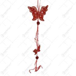 Decoratiune pentru geam in forma de fluture cu panglici - Rosu