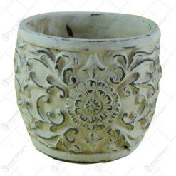 Ghiveci rotund realizat din piatra - Design antic cu floare (Model 1)