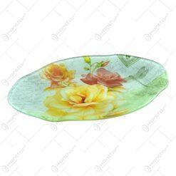 Platou pentru servire ralizat din sticla - Design Roses - Oval (Tip 2)