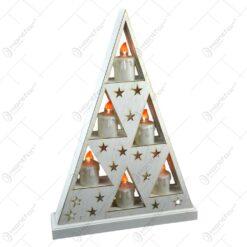 Ornament de craciun - Suport in forma triunghiulara cu 6 lumanari led albe