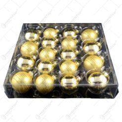 Set 18 globuri realizate din sticla pentru brad de craciun - 2 modele (Auriu)