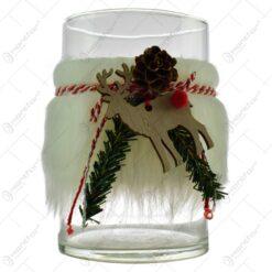 Suport lumanare realizat din sticla - Design Craciun cu blana artificiala