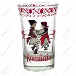 Pahar tip shot realizat din sticla - Design traditional Romania (Model 3)