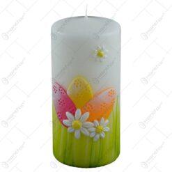 Lumanare de Paste in forma cilindrica - Design cu flori si oua colorate