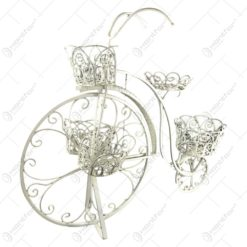 Suport pentru 5 chivece cu flori realizat din metal in forma de bicicleta