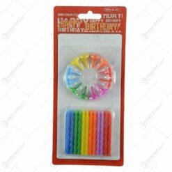 Set 24 de lumanari colorate cu suport - Design Spirala