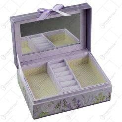 Cutie pentru bijuterii realizata din carton cu oglinda - Lavanda (Model 2)