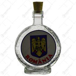 Plosca realizata din sticla decorata cu abtibild - Design cu stema Romaniei