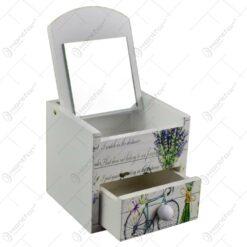 Cutie pentru bijuterii in forma de dulapior - Design vintage cu lavanda si bicicleta (Model 1)